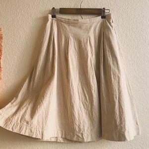 Uniqlo Linen Blend Tucked Flare Midi Skirt
